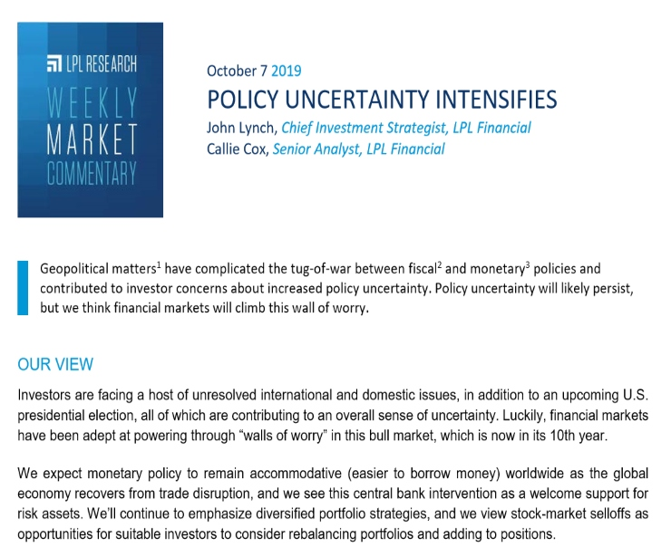Policy Uncertainty Intensifies | Weekly Market Commentary | October 7, 2019