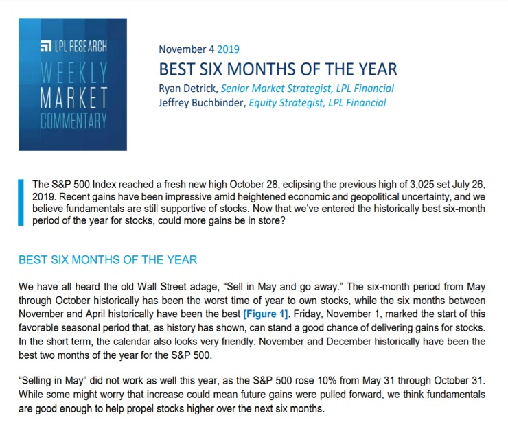 Best Six Months of the Year | Weekly Market Commentary | November 4, 2019