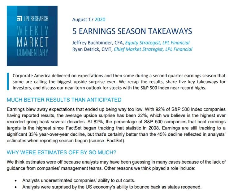 5 Earnings Season Takeaways| Weekly Market Commentary | August 17, 2020