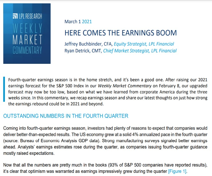 Here Comes The Earnings Boom | Weekly Market Commentary | March 1, 2021