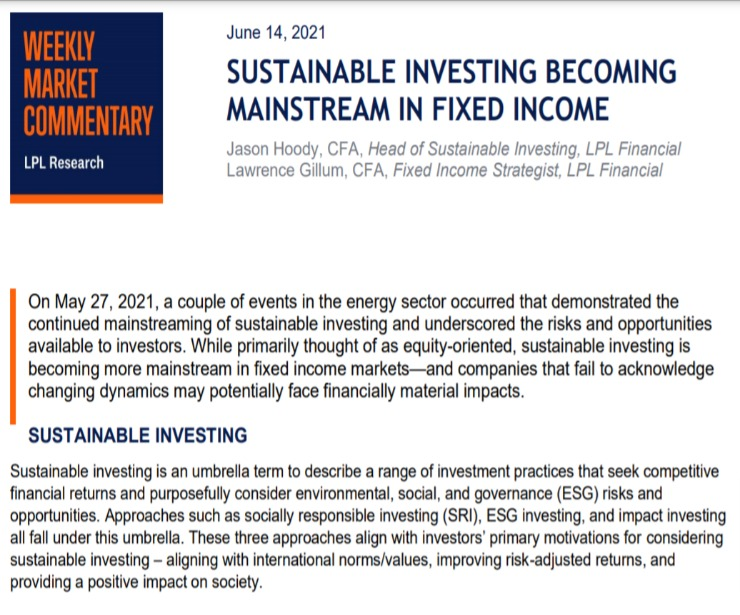 Sustainable Investing Becoming Mainstream in Fixed Income   Weekly Market Commentary   June 14,2021