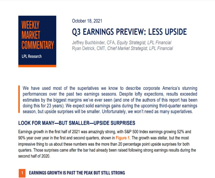 Q3 Earnings Preview: Less Upside   Weekly Market Commentary   October 18, 2021